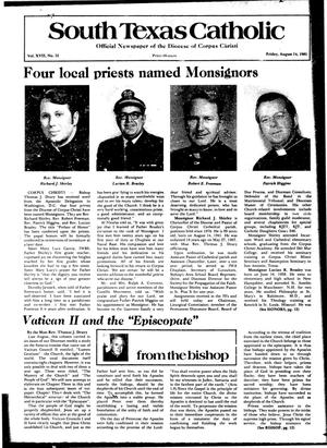 Primary view of object titled 'South Texas Catholic (Corpus Christi, Tex.), Vol. 17, No. 12, Ed. 1 Friday, August 14, 1981'.