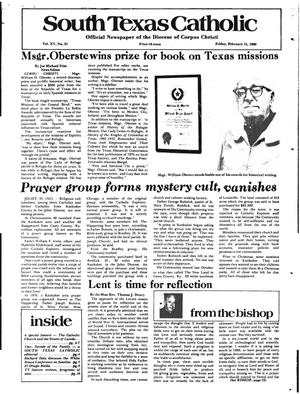 Primary view of object titled 'South Texas Catholic (Corpus Christi, Tex.), Vol. 15, No. 37, Ed. 1 Friday, February 15, 1980'.