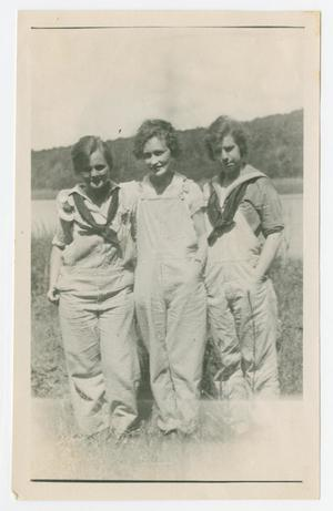 [Photograph of Three Women in Overalls]