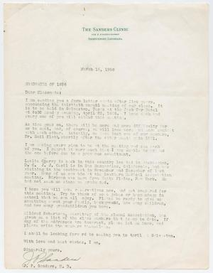 [Letter from J. P. Sanders to the Graduates of 1926, March 16, 1956]