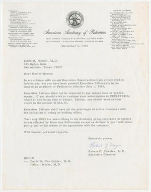 Primary view of object titled '[Letter from Robert G. Frazier to Edith M. Bonnet, December 4, 1968]'.