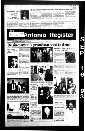 Primary view of object titled 'The San Antonio Register (San Antonio, Tex.), Vol. 62, No. 19, Ed. 1 Thursday, September 16, 1993'.