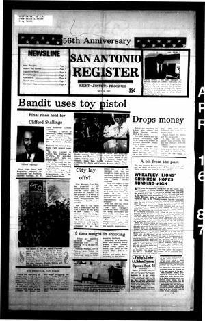 San Antonio Register (San Antonio, Tex.), Vol. 55, No. 50, Ed. 1 Thursday, April 16, 1987