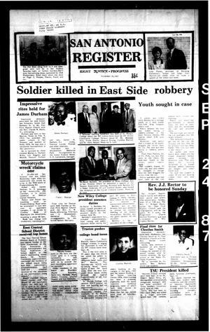 San Antonio Register (San Antonio, Tex.), Vol. 56, No. 26, Ed. 1 Thursday, September 24, 1987