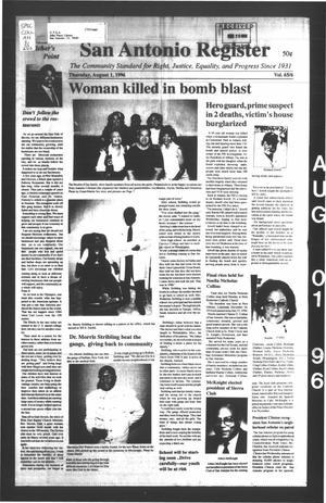 Primary view of San Antonio Register (San Antonio, Tex.), Vol. 65, No. 6, Ed. 1 Thursday, August 1, 1996