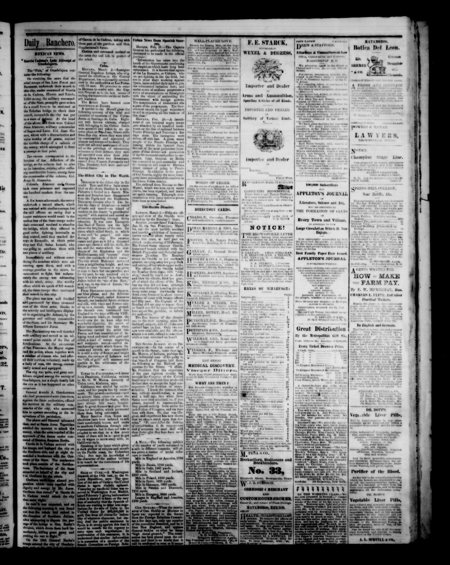 The Daily Ranchero. (Brownsville, Tex.), Vol. 5, Ed. 1 Saturday, March 12, 1870                                                                                                      [Sequence #]: 3 of 4