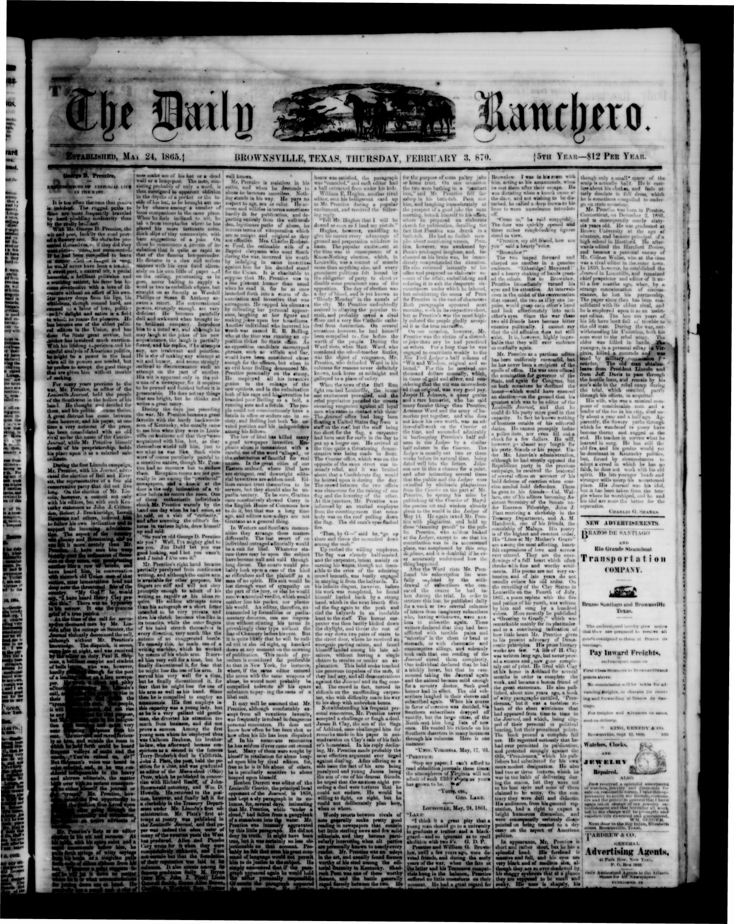 The Daily Ranchero. (Brownsville, Tex.), Vol. 5, Ed. 1 Thursday, February 3, 1870                                                                                                      [Sequence #]: 1 of 4