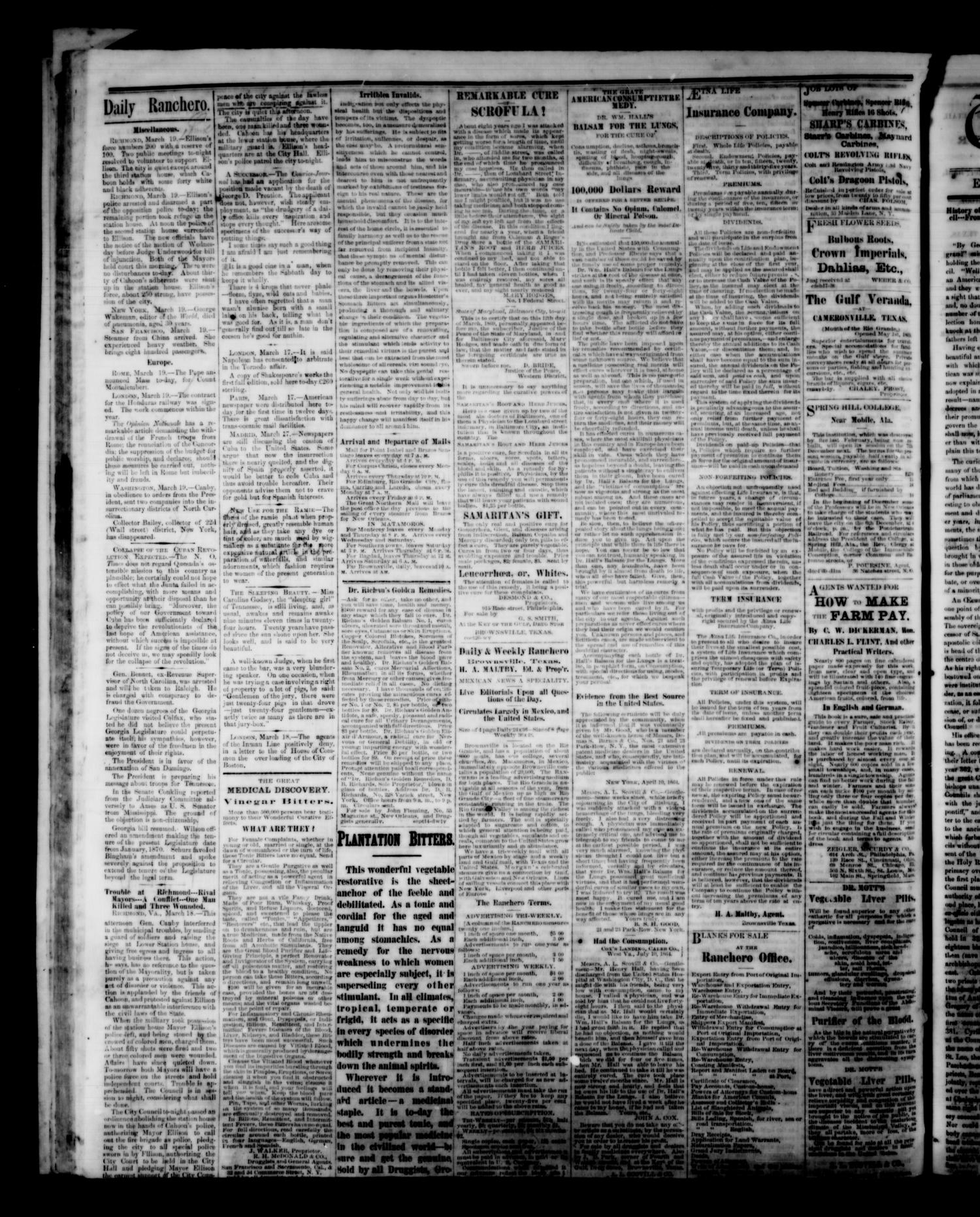 The Daily Ranchero. (Brownsville, Tex.), Vol. 10, Ed. 1 Saturday, March 26, 1870                                                                                                      [Sequence #]: 4 of 4