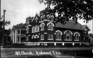 "Primary view of object titled '[The northwest corner of the ""M.E. Church Richmond, Tex.""]'."