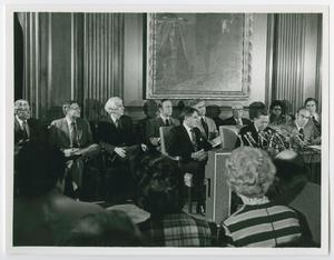 Primary view of object titled '[Barbara Jordan and Carl Albert Sit at a Conference]'.
