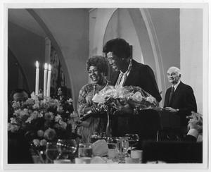 Primary view of object titled '[Barbara Jordan Receiving Flowers at the University of Southern California]'.