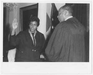 Primary view of object titled '[Barbara Jordan Being Sworn in as Governor For A Day]'.