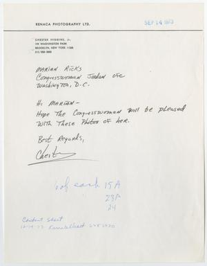 Primary view of object titled '[Letter from Chester Higgins, Jr. to Marian Ricks, September 14, 1973]'.