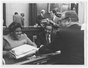 Primary view of object titled '[Barbara Jordan and Charles B. Rangel Meet With a Man]'.