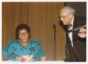 Primary view of object titled '[Portrait of Barbara Jordan and Bryan Hooks]'.
