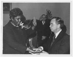 Primary view of object titled '[Barbara Jordan Gets Sworn in as Texas State Senator]'.