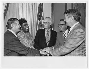 Primary view of object titled '[Barbara Jordan with Fellow Congressmen]'.