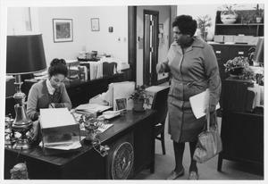 Primary view of object titled '[Barbara Jordan at Her Congressional Office in Washington D.C.]'.