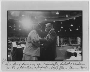 Primary view of object titled '[Barbara Jordan and Robert Strauss Shake Hands]'.