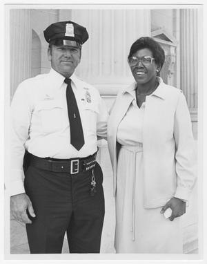 Primary view of object titled '[Portrait of Barbara Jordan and a Security Guard]'.