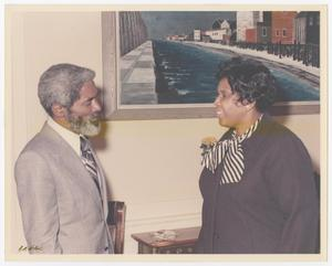 Primary view of object titled '[Barbara Jordan and an Unidentified Man at Governor for a Day Ceremony]'.