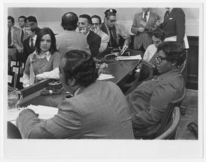 Primary view of object titled '[Barbara Jordan and Charles B. Rangel Meet With a Reporter]'.