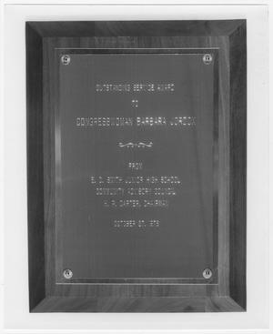 Primary view of object titled '[Plaque Commemorating Barbara Jordan From E. O. Smith Junior High School]'.