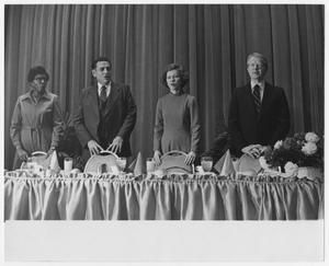 Primary view of object titled '[Barbara Jordan, President Jimmy Carter, First Lady Rosalynn Carter, and an Unidentified Man]'.