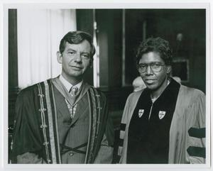 Primary view of object titled '[Portrait of Barbara Jordan and William G. Bowen]'.