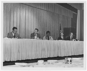 Primary view of object titled '[Barbara Jordan With Fellow Panelists]'.