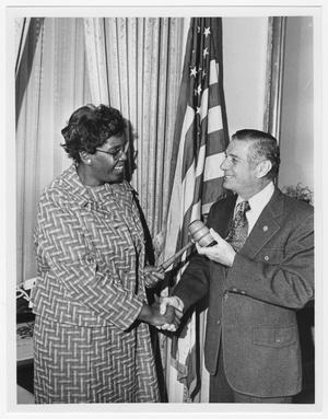 Primary view of object titled '[Barbara Jordan with a Fellow Congressman]'.