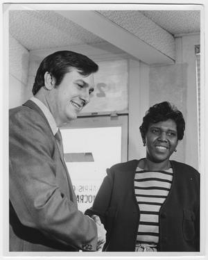 Primary view of object titled '[Barbara Jordan at a Registration Drive]'.