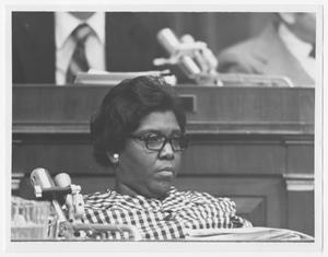 Primary view of object titled '[Portrait of Barbara Jordan at a Judicial Hearing]'.