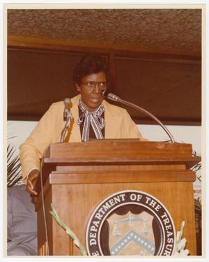 Primary view of object titled '[Barbara Jordan Speaks at Azie T. Morton's Swearing in Ceremony]'.