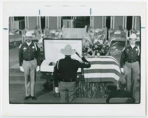 Primary view of object titled '[Honor Guard Saluting Barbara Jordan at Her Funeral Service]'.