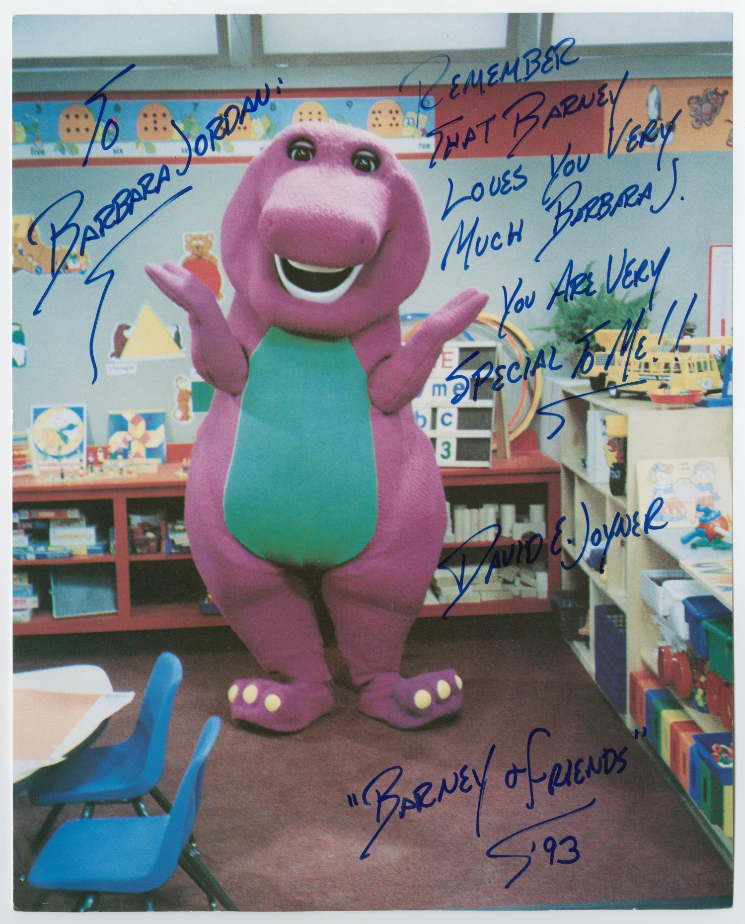 [Barney Poses in a Classroom]                                                                                                      [Sequence #]: 1 of 2