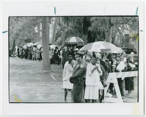 Primary view of object titled '[People Pay Their Respects Outside Barbara Jordan's Funeral]'.