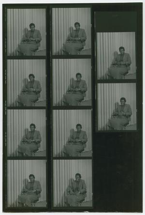 Primary view of object titled '[Contact Sheet of Barbara Jordan Sitting in a Chair]'.