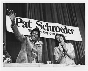 Primary view of object titled '[Barbara Jordan and Pat Schroeder Share a Laugh]'.
