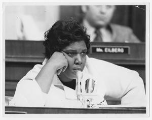 Primary view of object titled '[Barbara Jordan at a Judicial Hearing]'.