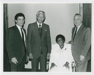 Primary view of object titled '[Portrait of Barbara Jordan, Nelson Mandela, and Two Unidentified Men]'.
