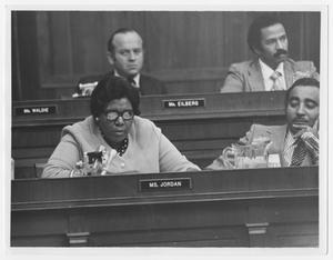 Primary view of object titled '[Barbara Jordan and Charles B. Rangel at a Judicial Hearing]'.
