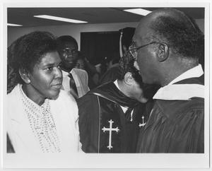 Primary view of object titled '[Barbara Jordan Speaks With a Man]'.