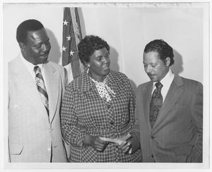 Primary view of object titled '[Barbara Jordan With Two Men]'.