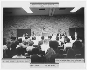 Primary view of object titled '[Barbara Jordan Speaks at a Podium]'.