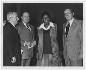 Primary view of object titled '[Portrait of Barbara Jordan and Three Unidentified Men]'.