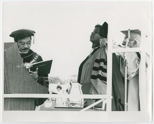 Primary view of object titled '[Barbara Jordan Being Awarded an Honorary Degree at Harvard University]'.
