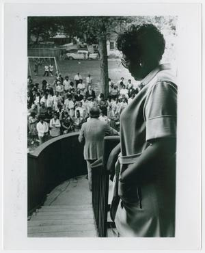 Primary view of object titled '[Barbara Jordan Waits to Speak at an Event]'.