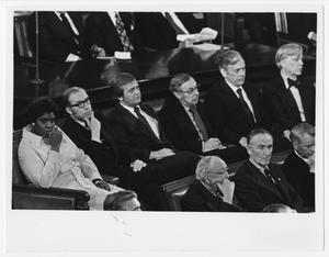 Primary view of object titled '[Barbara Jordan Sitting With Fellow Judiciary Committee Members]'.