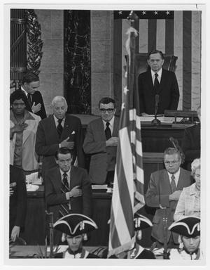 Primary view of object titled '[Members of Congress Stand During the Bi-Centennial Celebration]'.